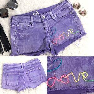 Pants - HANDMADE Equality Rainbow Love Purple Jean Shorts